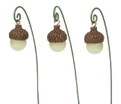 Set/3 Glow In Dark Acorn Path Lights  For Miniature Gardens