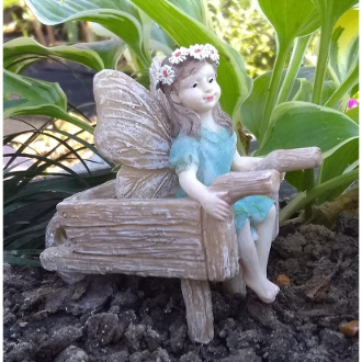 Eliza in Wheelbarrow Fairy for Miniature Fairy Gardens