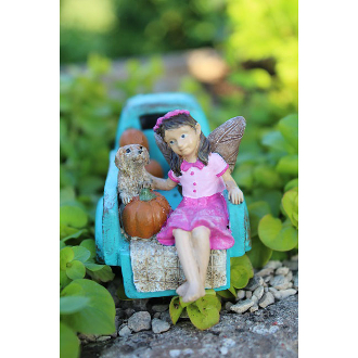 Pumpkin Picking Fairy for Miniature Fairy Gardens