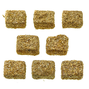 Set/8 Natural Hay Bales for Miniature Fairy Gardens