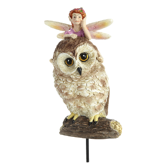Fairy on Owl with Stake For Miniature Fairy Gardens