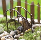 Brown Metal Arch Bridge for Miniature Fairy Gardens