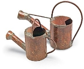 Set/2 Rustic Metal Water Cans For Miniature Fairy Gardens