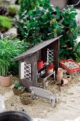 Metal Handcrafted Garden Shed Leanto For Miniature Fairy Gardens