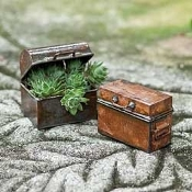 Set/2 Handcrafted Metal Trunks For Miniature Fairy Gardens
