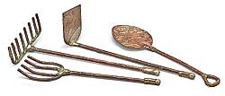 Set 4/ Antiqued Wrought Metal Fairy Garden Tools