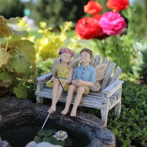 Charlie and Tilly, Fishing Pair, for Miniature Fairy Gardens