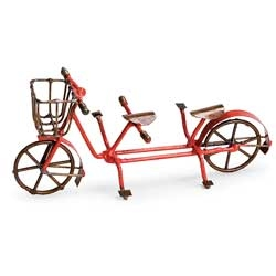 Double Vintage Red Bike for Miniature Fairy Gardens